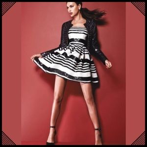 Bebe Black and White Sequin Striped Flared Dress